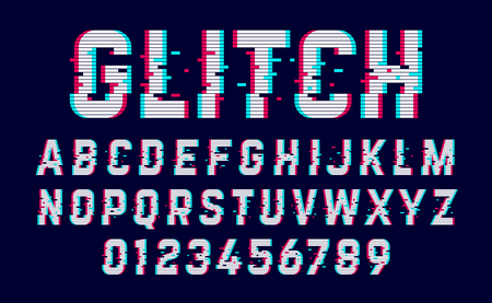 deface: Trendy style distorted glitch typeface. Letters and numbers