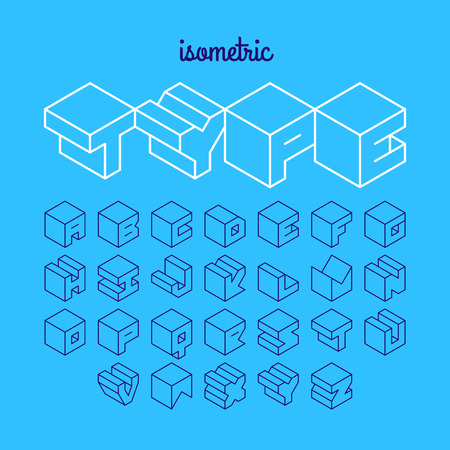Isometric 3d outline font, three-dimensional alphabet Çizim