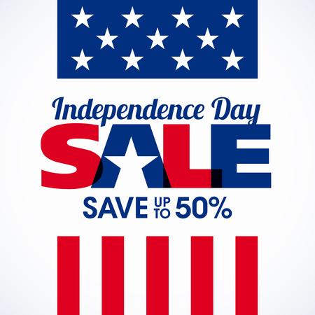アメリカ独立記念日セールのバナーです。7 月 4 日のお祝い
