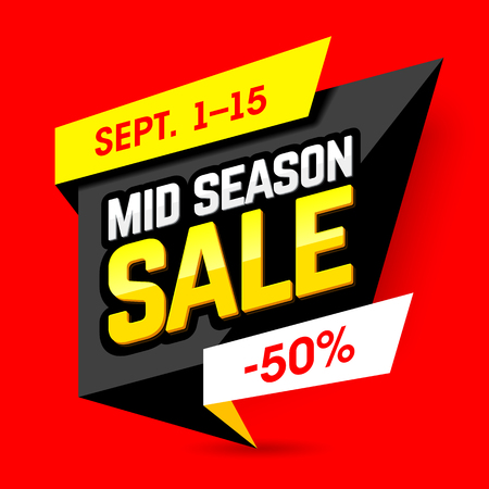 layout: Mid Season Sale banner design template. Special offer, up to 50% off.