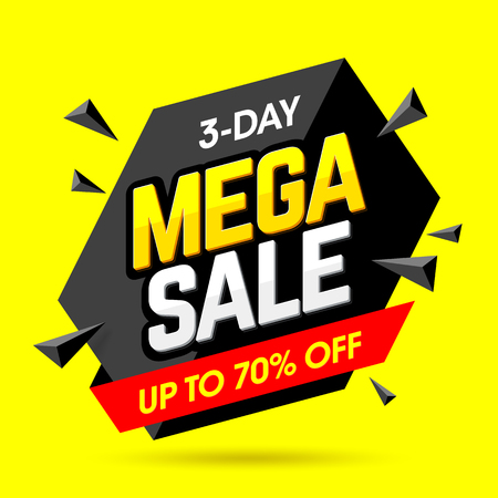 Mega Sale banner design template, 3 day special weekend offer, up to 70% off