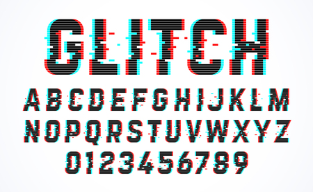 Trendy style distorted glitch typeface. Letters and numbers