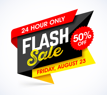 Flash sale bright banner design template. One day sale, special Friday offer, 50% off