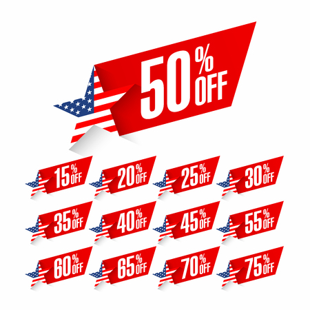 USA Independence Day discount labels. Fourth of July celebration