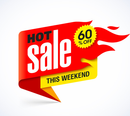 big: Hot Sale banner design template, this weekend special offer, big sale, discount up to 60% off Illustration