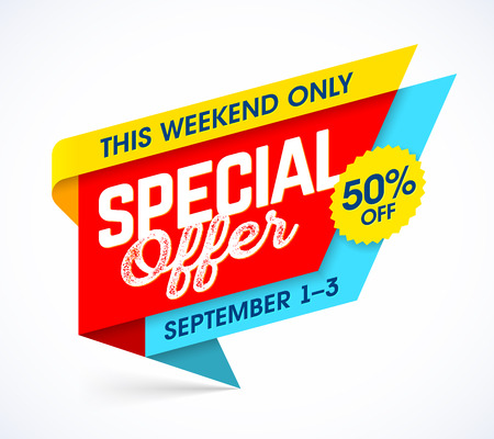 modern: This weekend only special offer. Sale campaign banner design template, up to 50% off