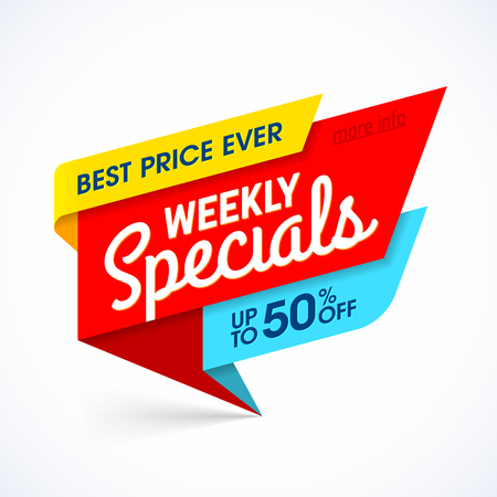 Weekly Specials sale banner, special offer, best price ever.