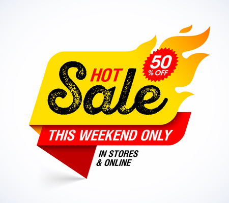 Hot Sale banner. This weekend special offer, big sale, discount up to 50% off