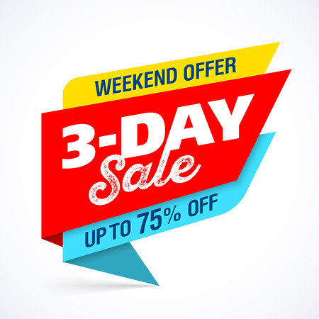 sign: 3 Day Sale banner design template, special weekend offer, up to 75% off
