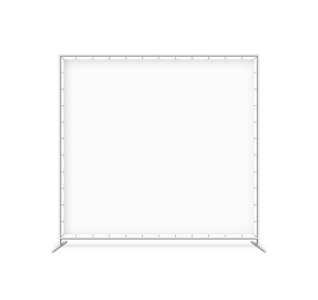 empty: Billet press wall with blank banner, mobile trade show booth Illustration