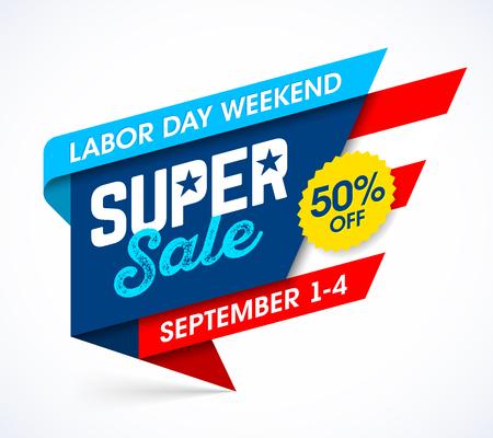 労働者の日の週末のスーパー セールのバナー デザイン