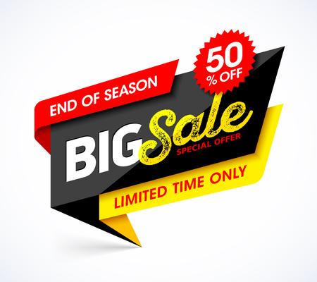 Bannière Big Sale. Modèle de bannière d'offre spéciale fin de saison Vecteurs