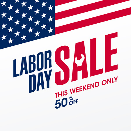 Labor Day Sale, this weekend only special offer banner design Illustration