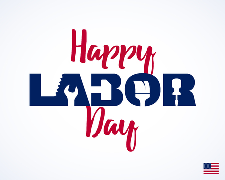 symbols: Happy Labor Day greeting card design. American national holiday, 4 September. Vector illustration