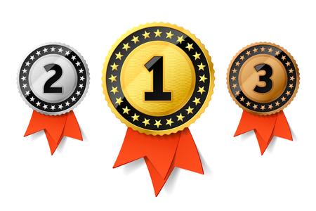Médailles d'or aux médailles d'or, d'argent et de bronze avec ruban rouge. Prix ??de première, deuxième et troisième places Banque d'images - 84049499