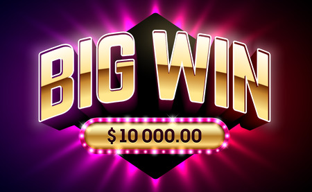 Big Win banner for gambling games such as poker, roulette, slot machines, cards and other casino games