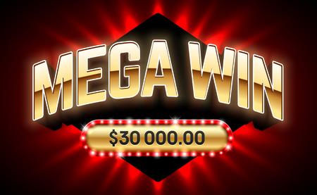 Mega bandera de victorias de lotería o juegos de casino como el póquer, ruleta, máquinas tragamonedas o juegos de cartas Foto de archivo - 84049523