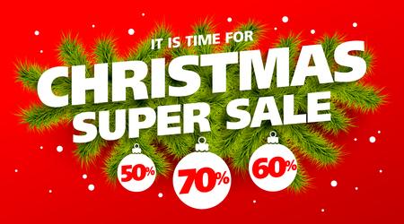 そろそろクリスマス スーパー セール、ベクター バナー テンプレート