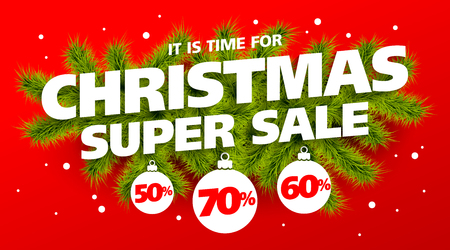 Its time for Christmas Super Sale, vector banner template