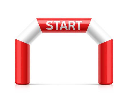 Opblaasbare startlijn boog illustratie. Rode en witte opblaasbare boog. Geschikt voor verschillende buitensportevenementen zoals marathonraces, triatlon, skiën en andere Stock Illustratie
