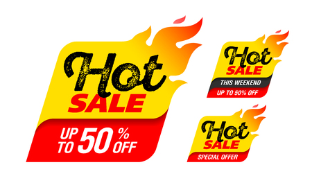 Hot Sale banner. Special offer, big sale, discount up to 50% off Ilustração