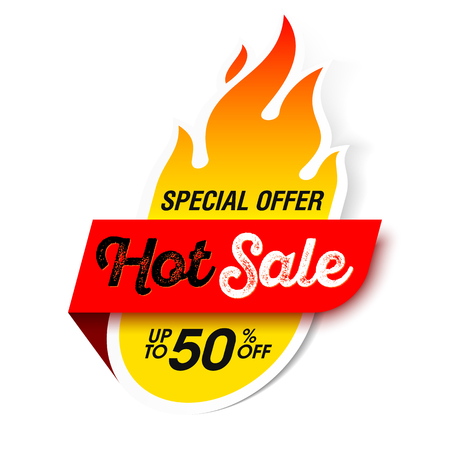 Hot Sale label, sticker. Special offer, big sale, discount up to 50% off