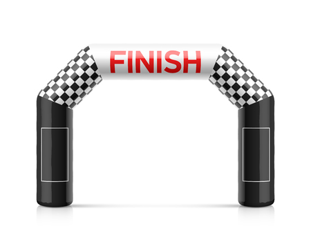 Inflatable finish line arch illustration. Inflatable archway template with checkered flag and places for sponsors advertising. Suitable for different outdoor sport events like marathon racing, triathlon, skiing and other Vettoriali