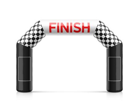 Inflatable finish line arch illustration. Plantilla inflable del arco con la bandera a cuadros y lugares para la publicidad de los patrocinadores. Adecuado para diferentes eventos deportivos al aire libre como carreras de maratón, triatlón, esquí y otros