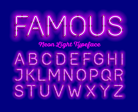 Famous, neon light typeface. Modern neon tube glow font, Vectores