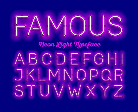 Famous, neon light typeface. Modern neon tube glow font, Ilustração