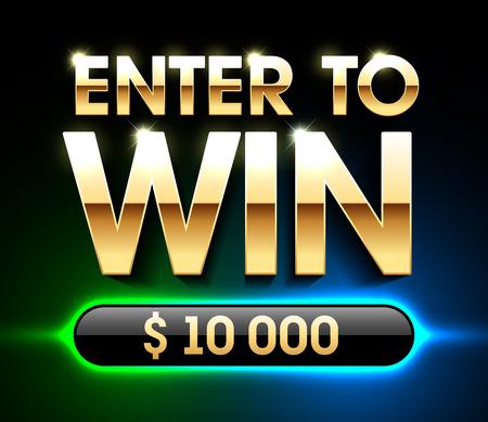 Enter To Win banner achtergrond voor loterij of casinospellen zoals poker, roulette, gokautomaten of kaartspellen