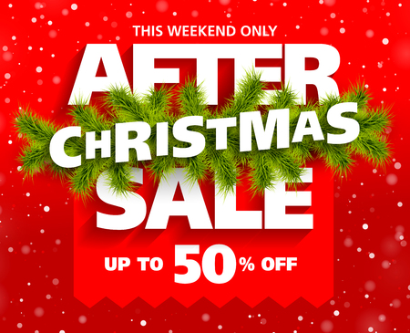 After Christmas Sale banner vector illustration. Illustration