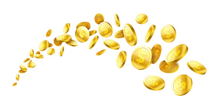 Flying realistic gold 3d coins vector illustration.