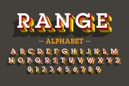 3D alphabet and numbers icon.