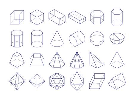 3D geometric shapes icon.