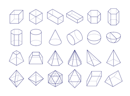 3D geometric shapes icon.