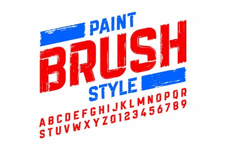Paint brush style of alphabet and numbers icon.
