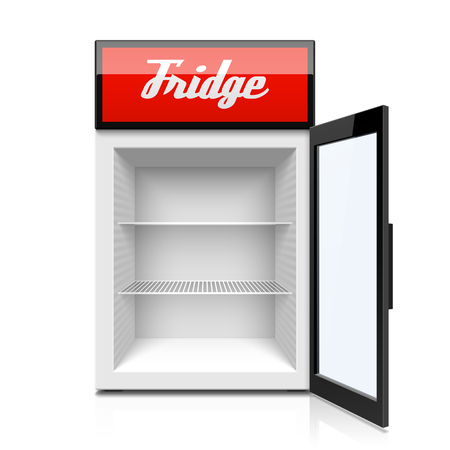 Glass door fridge icon.
