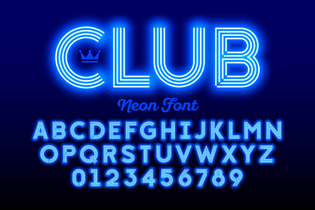 Neon alphabet and numbers icon. Illustration