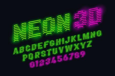 Neon glow 3d font Illustration