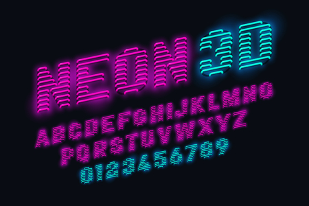 Polices 3d néon lueur sur fond noir, illustration vectorielle. Vecteurs