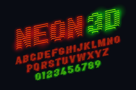 reverberation: Neon glow 3d font Illustration
