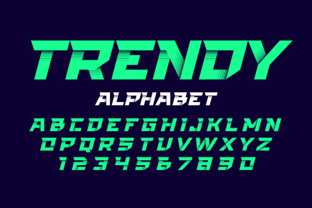Trendy style dynamic alphabet on black background. Illustration