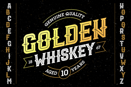 Vintage style font with sample design. Ideal for any labels design in vintage style such as whiskey, absinthe, gin, rum, bourbon etc