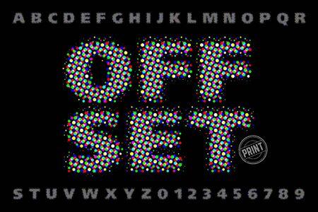 Offset print style modern font Vettoriali