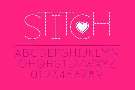 Stitched font, alphabet vector illustration