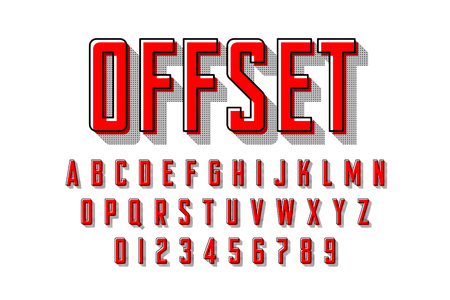 Offset printing style modern font
