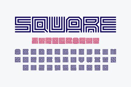 Square shape letters linear font Illustration