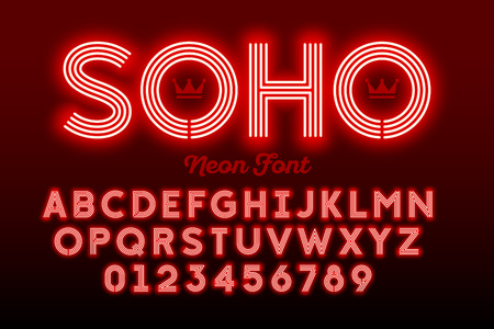 Neon style modern font, alphabet and numbers