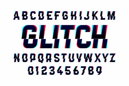 Trendy style distorted glitch typeface. Letters and numbers.